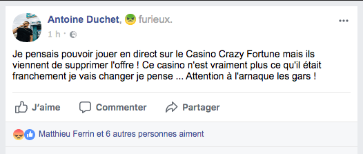 Avis Facebook Crazy Fortune