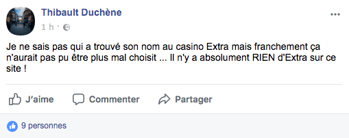 commentaire facebook casino extra