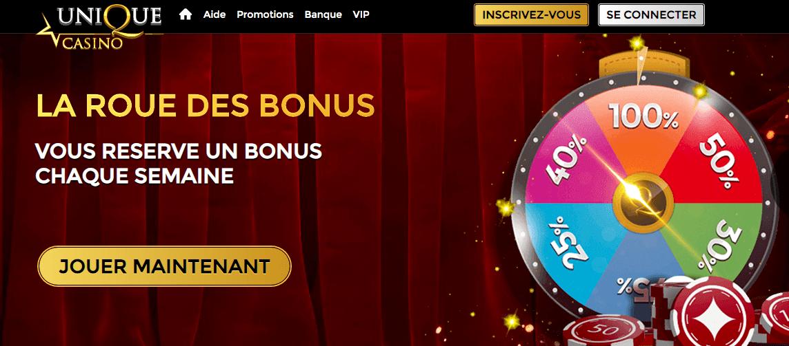 bonus sans dépôt Unique casino