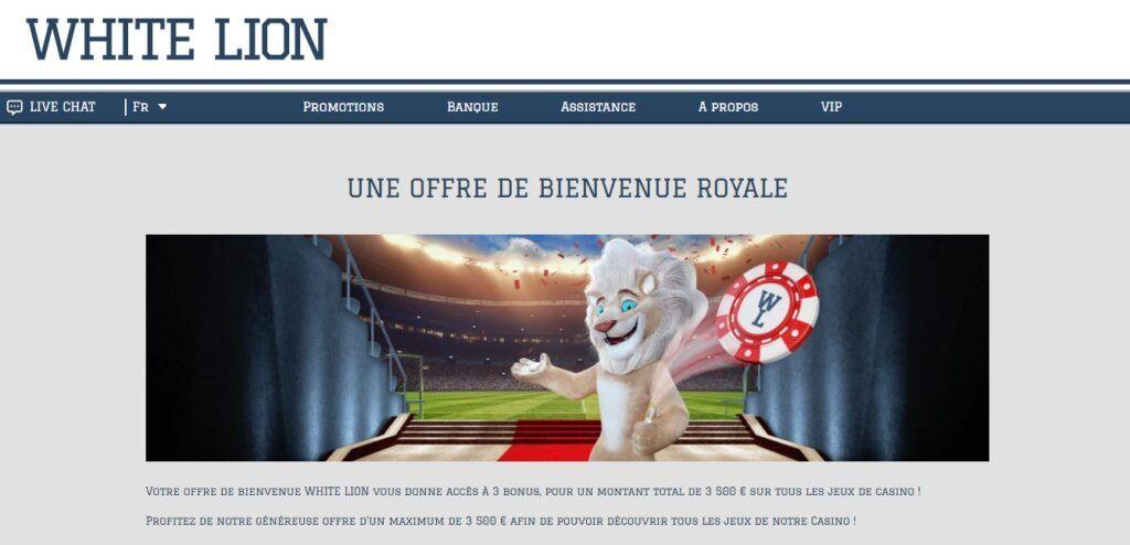Bonus de bienvenue white lion