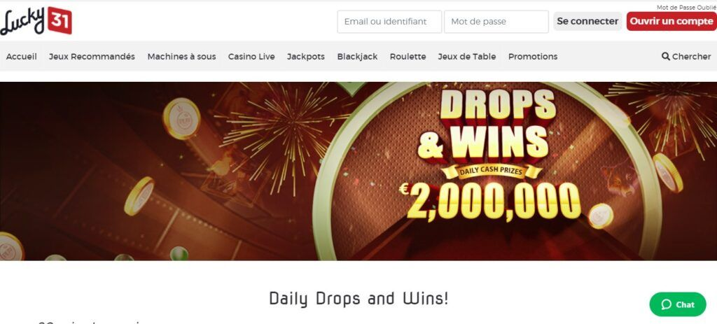daily drops and wins lucky31