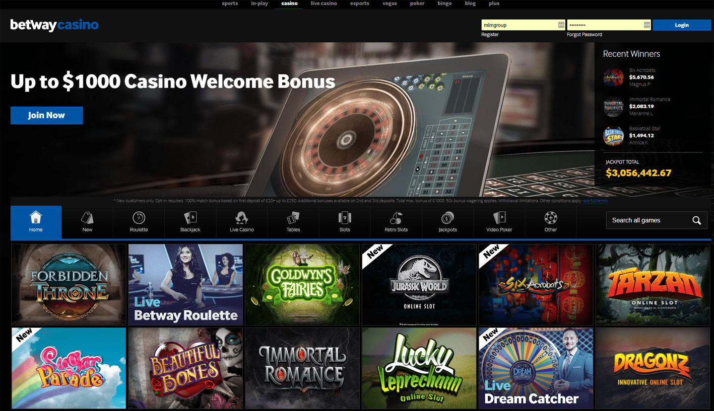 betway casino interface